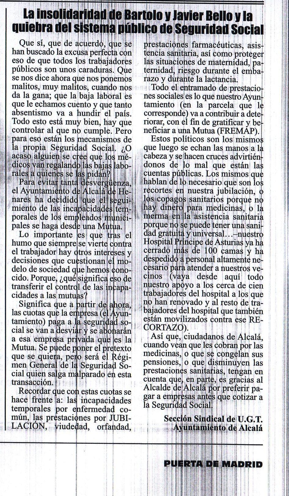NOTA DE PRENSA SOBRE ACUERDO AYTO-FREMAP PARA QUE LA MUTUA SE HAGA CARGO DE LAS ENFERMEDADES COMUNES DEL PERSONAL MUNICIPAL